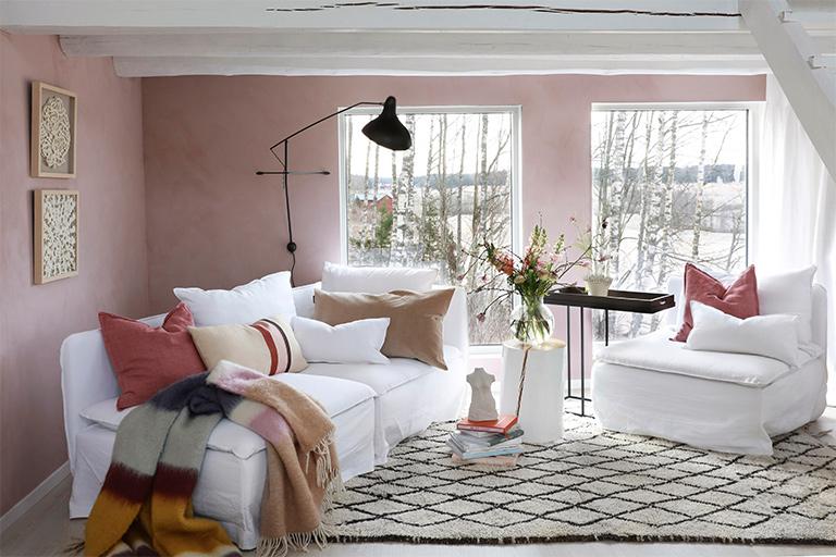 Forårets skønhed med en rosa stue